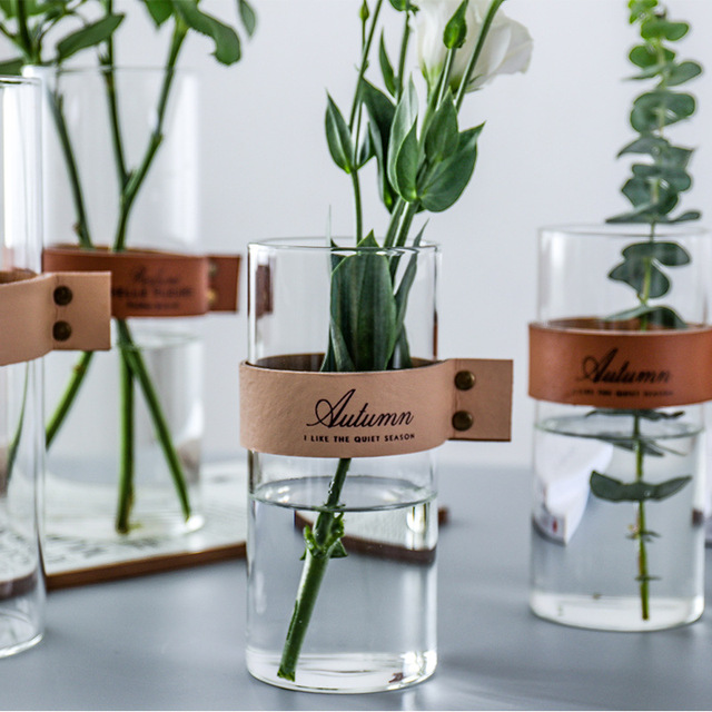 CuteLife Nordic Transparent Flower Glass Vase Living Room Flower Table Vase Glass Home Decoration Water Hydroponics Plant Vase 1