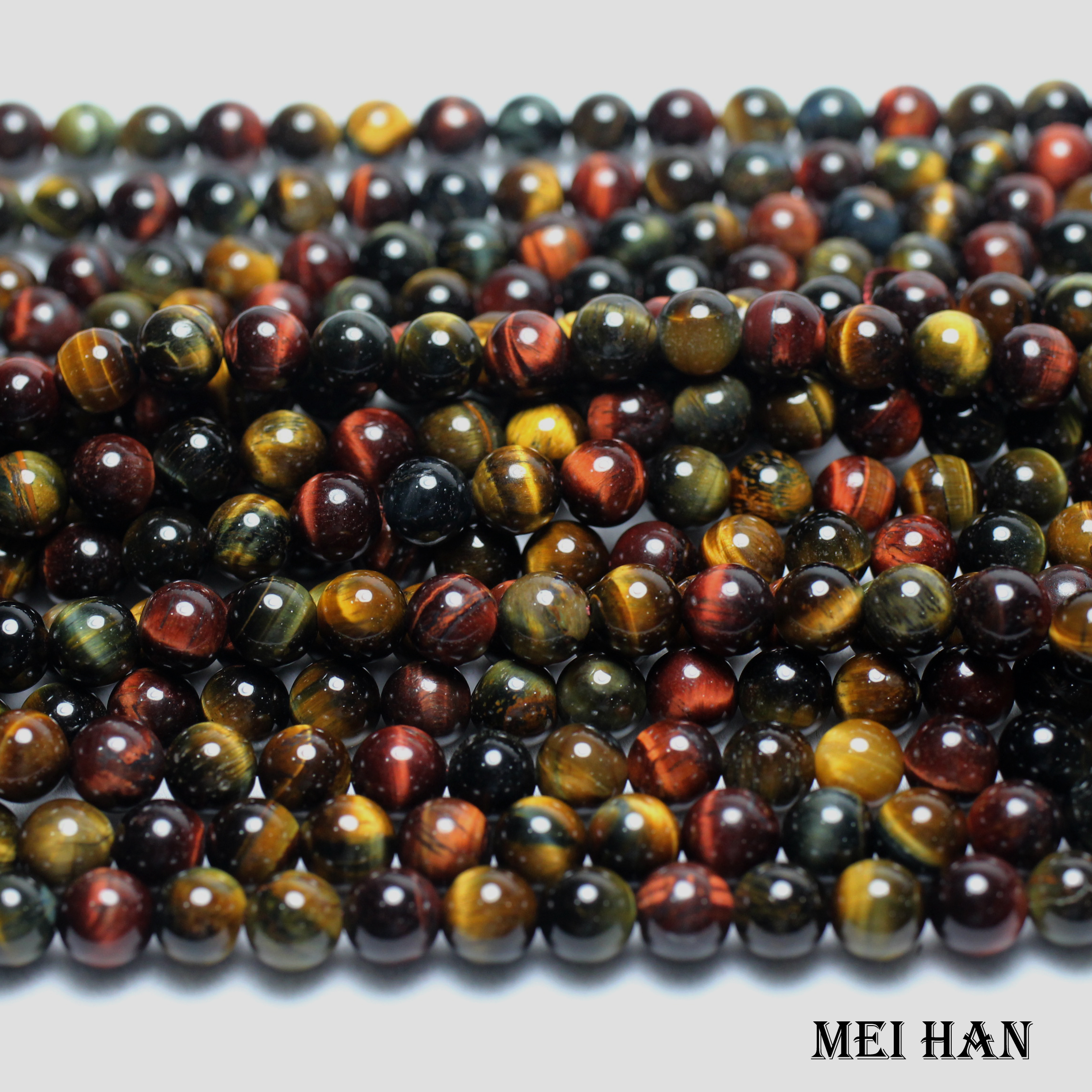 Eye-Smooth Stone-Beads Jewelry-Making-Design Round Natural Meihan 8mm for Tiger-Hawk's