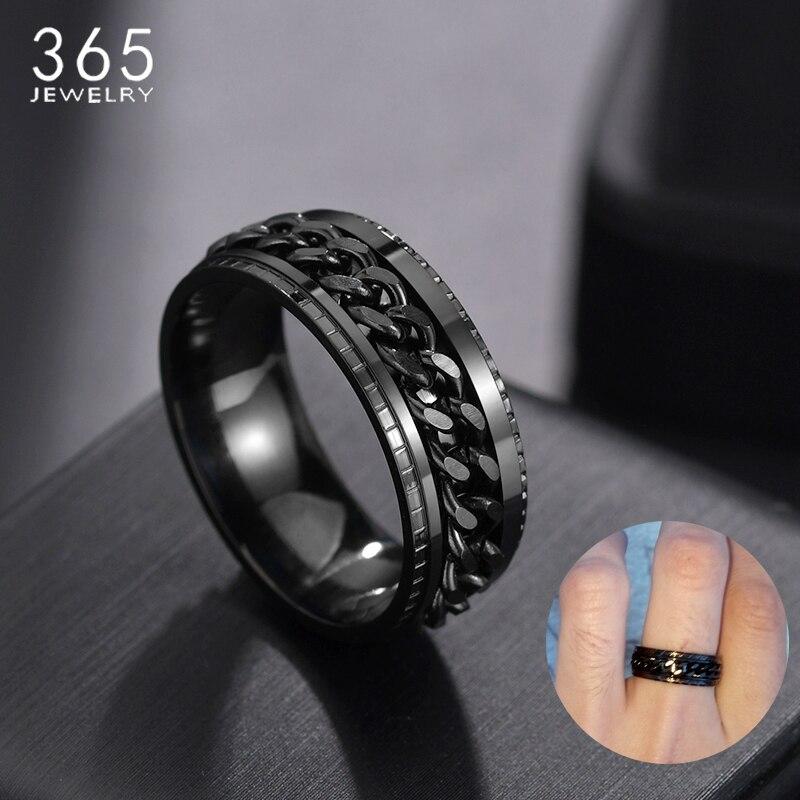 Anel masculino de aço inoxidável, punk 8mm, corrente giratória, na cor preta, 1 peça presente