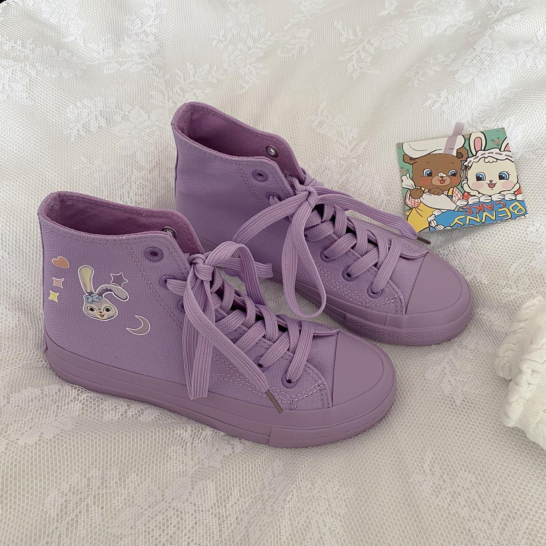 Women Canvas Purple Sneakers Cartoon