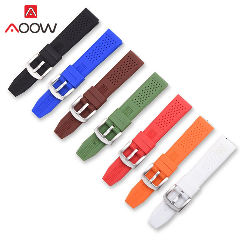 Universal 16mm 18mm 20mm 22mm 24mm Soft Silicone Watchband For Gear S2 S3 Sport Waterproof Strap Bracelet Band Accessories