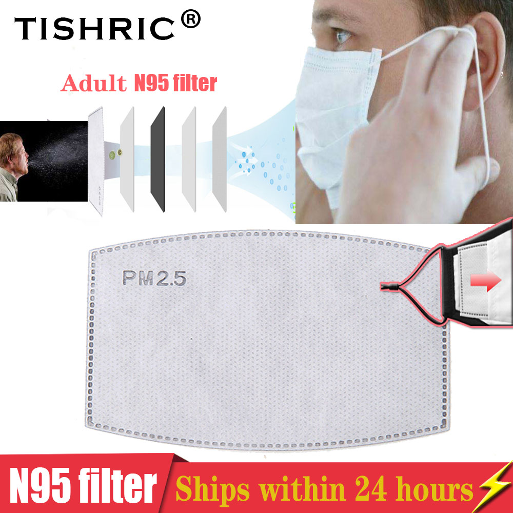 TISHRIC N95/FFp2/KF94 Mask Filter Paper Respirator PM2.5 Activated Carbon Anti-fog/Dust/Anti Haze/Protective Mask For Adults