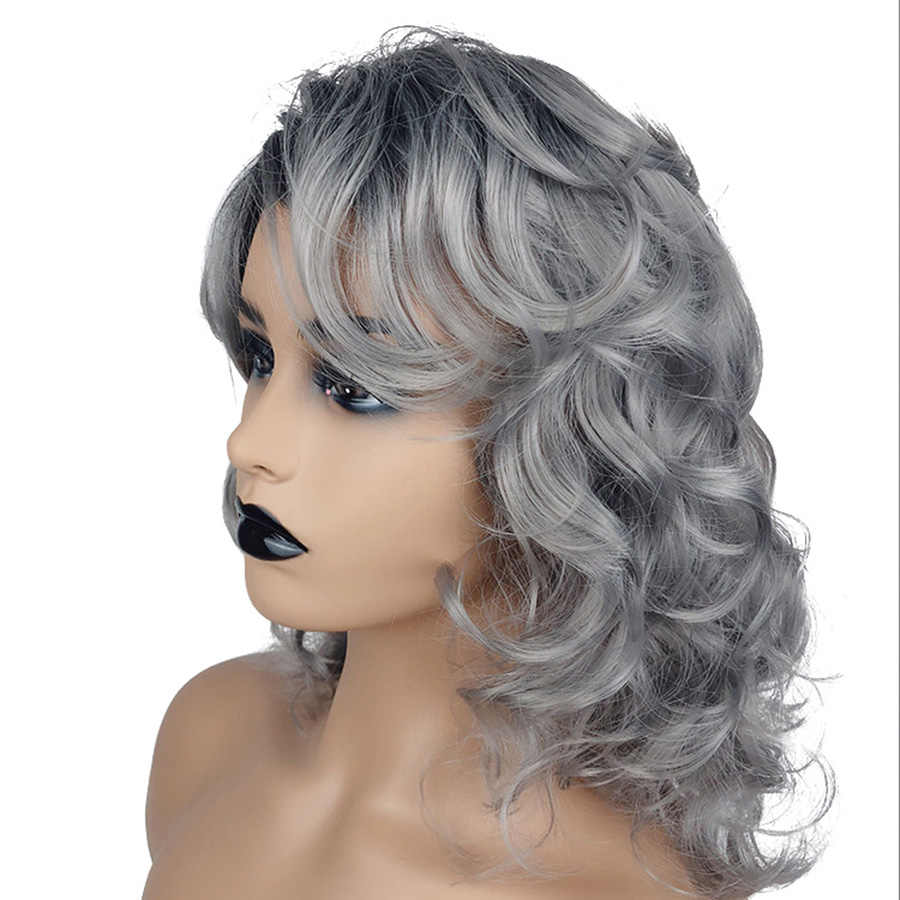 Belleza en línea pelucas sintéticas con flequillo onda del cuerpo Color gris pelucas para mujeres 12 pulgadas con parte lateral