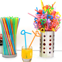 Flexible Plastic Bendy Mixed Colours Party Disposable Drinking Straws Kids Birthday Wedding Decoration Event Supplies S2017174