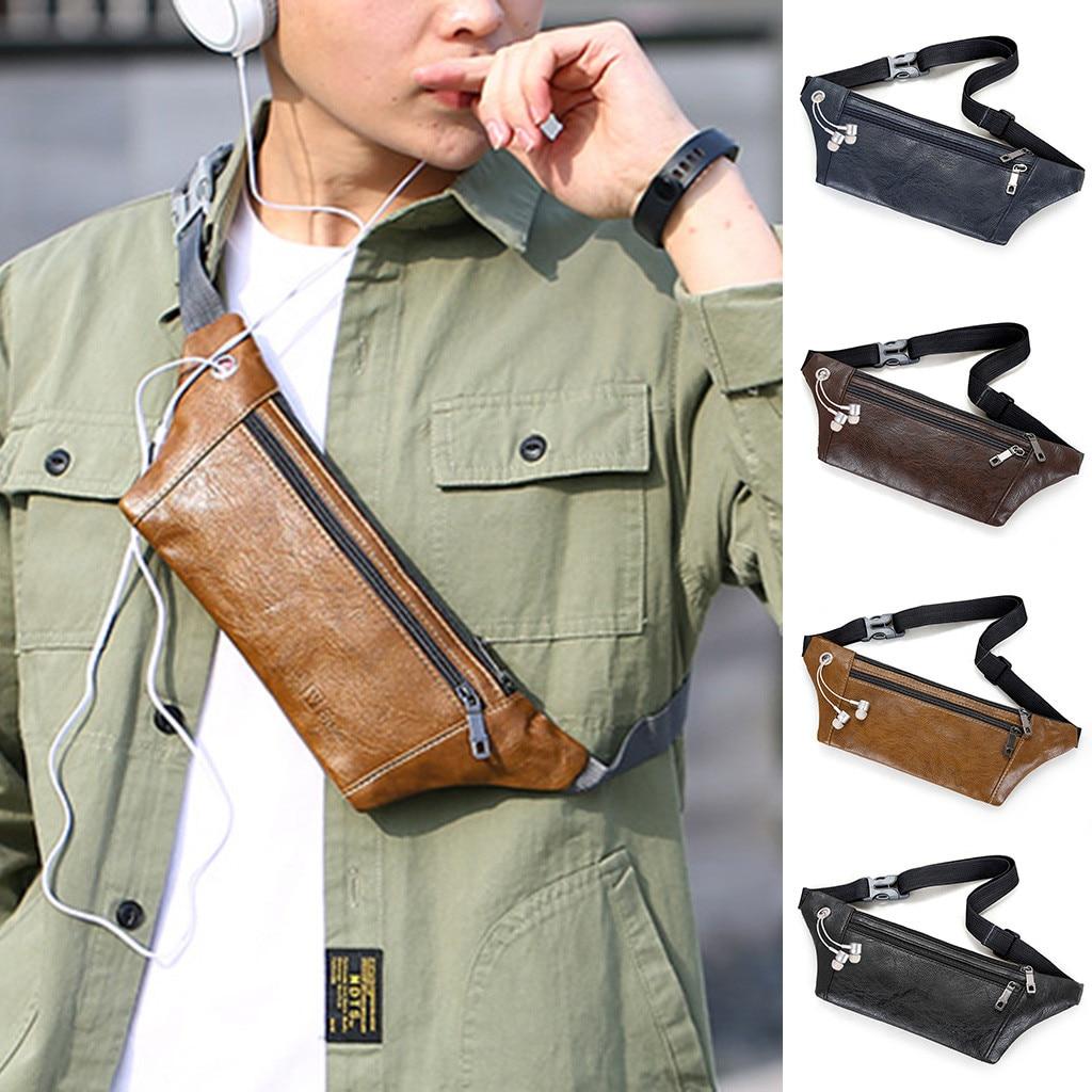 Men Waist Packs Chest Bag Messenger Bag Single Should Phone Leather Bags  2019 New Hip Bum Military Bag  Pouch Three Zipper Pock
