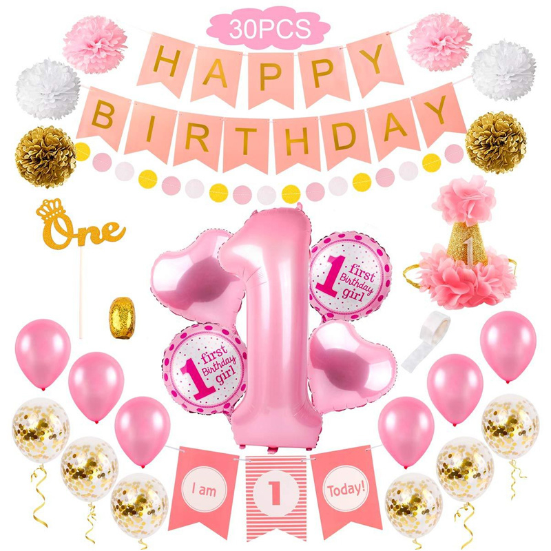 30pcs Babe Girls First Birthday Party Decorations Set Banner Tissue Paper Pom-poms Foil Balloon Birth Day Hat For Baby Shower