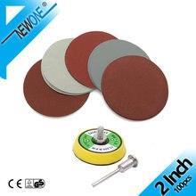Lixa de lixa de 2 polegadas 50mm, 100 peças, ferramenta abrasiva, lixa para baixo com haste de 3mm almofada almofada