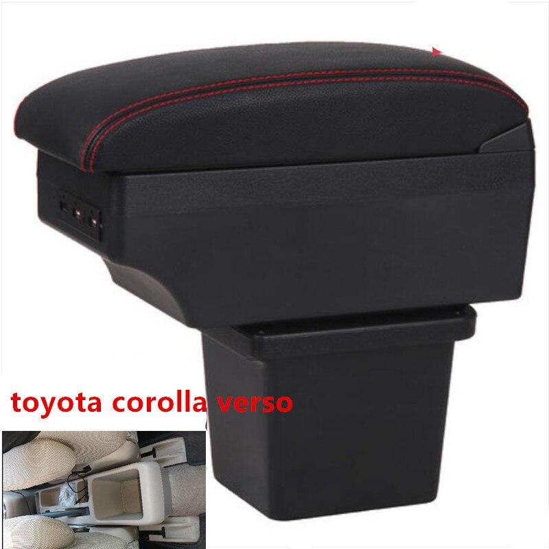 Für toyota corolla verso Armlehne box zentralen Speicher inhalt box mit usb-schnittstelle