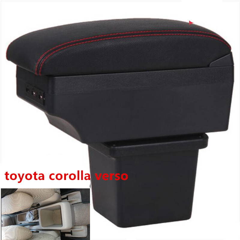 Toyota corolla verso armrest box usb 인터페이스가있는 중앙 저장소 내용 상자