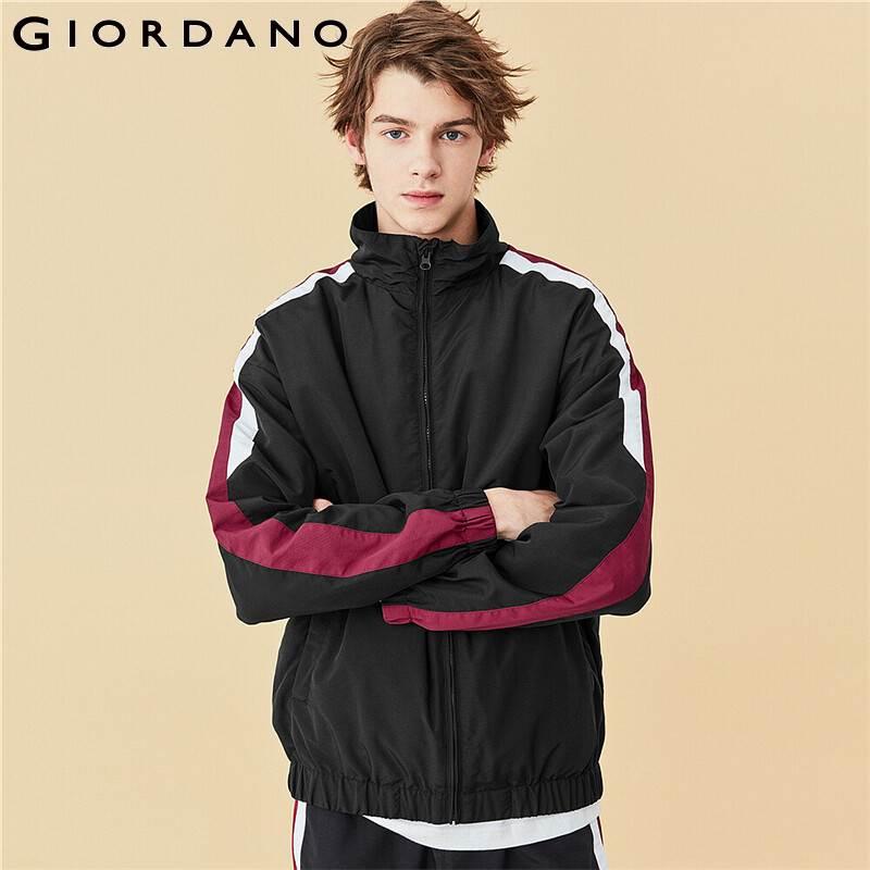 Giordano Men Jackets Contrast Stand Collar Jacket Men Stand Collar Zip Front Windproof Jaqueta Masculino 01070726