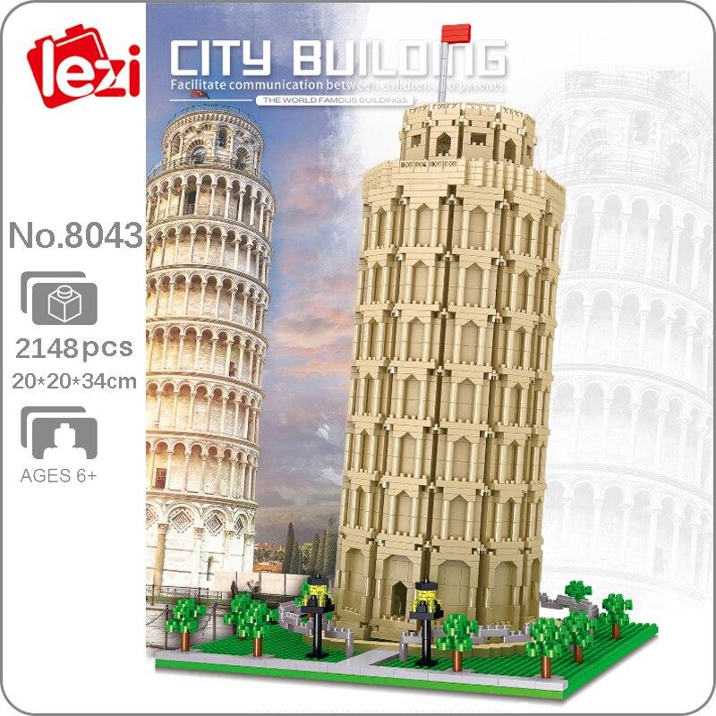 Lezi 8043 г., сквозная башня Пизы мира по архитектуре, модель 3D «сделай сам», миниатюрные алмазные блоки, кирпичи, игрушки для детей, без коробки