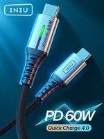 INIU PD 60W USB C a USB tipo C Cable LED de carga rápida cargador de teléfono de Cable para Macbook Pro iPad Xiaomi Huawei Samsung LG uno más
