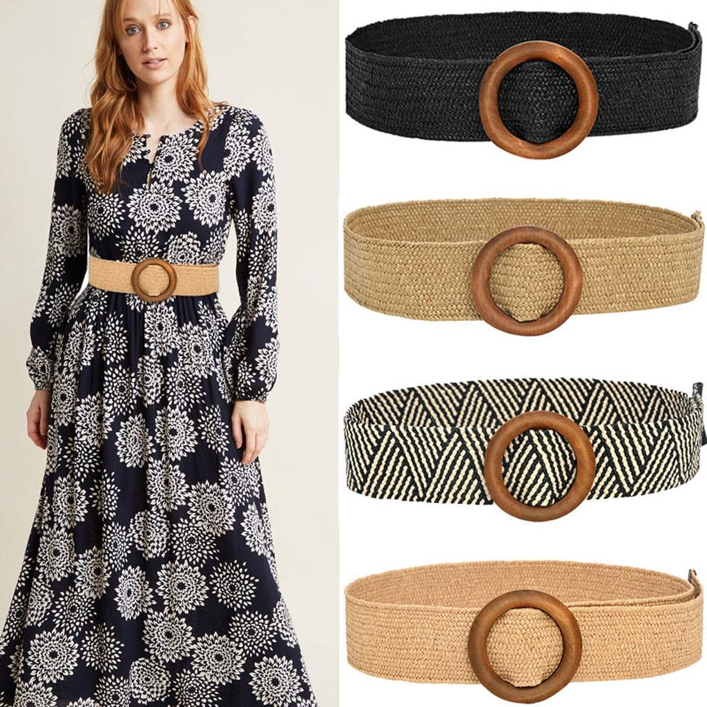 Женский винтажный Плетеный ремень в стиле бохо, однотонный пояс с круглой деревянной гладкой пряжкой, широкий пояс из искусственной соломы,...