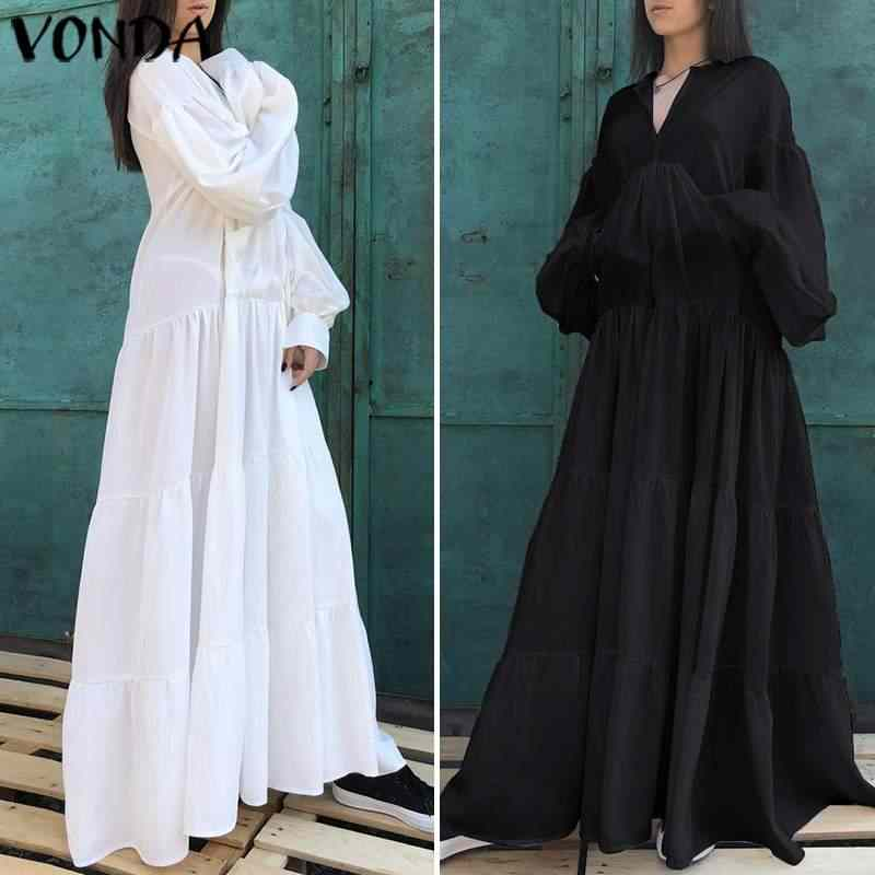 VONDA Vintage Maxi Dress 2019 Women Sexy V Neck Solid Color Dresses Plus Size Bohemian Vestidos Femme Party Sundress 5XL Robe