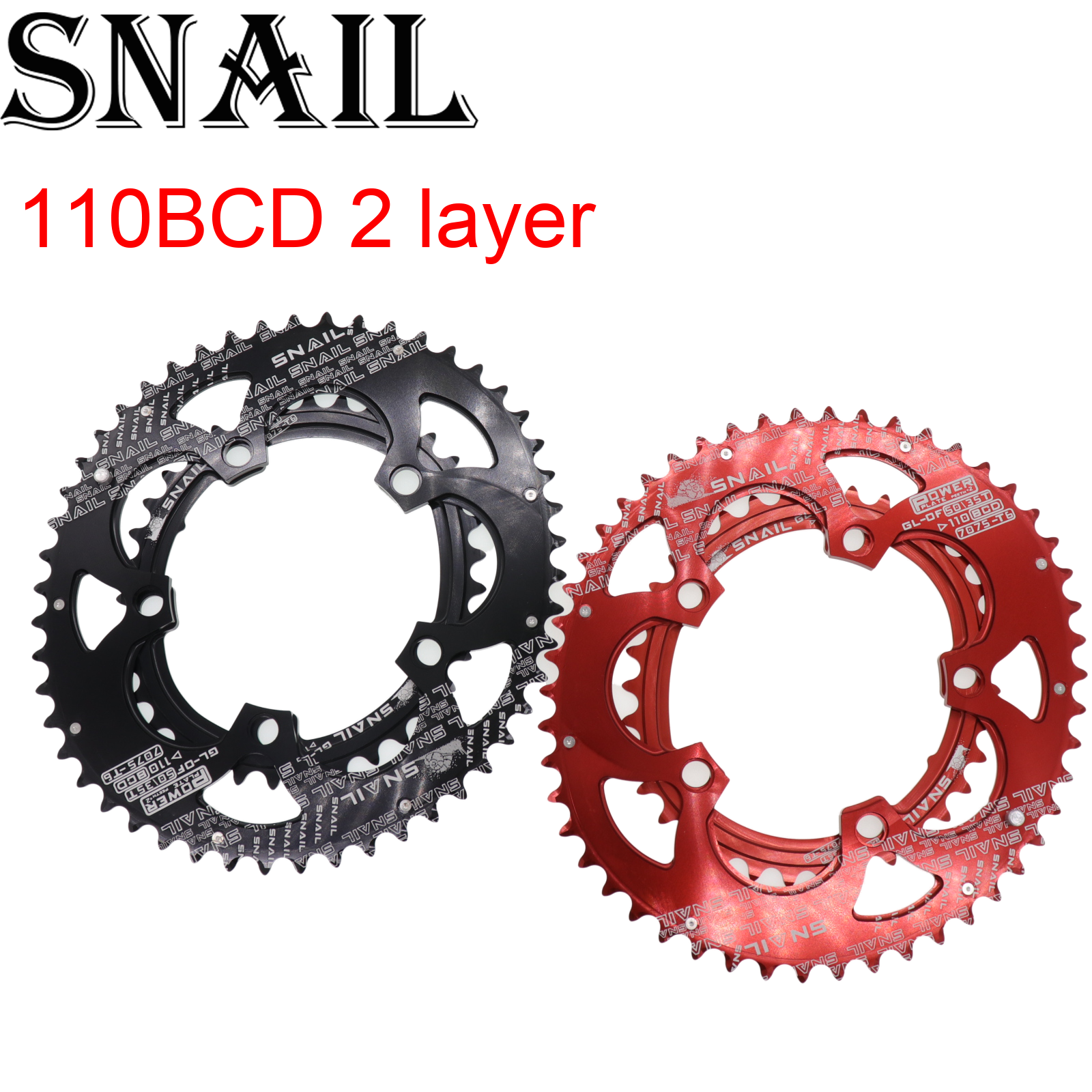 Snail 110 BCD Oval <font><b>50T</b></font> 35T Double Chainring 2 Layer Speed for Shimano Folding Road Bike Ultralight Tooth plate <font><b>110BCD</b></font> image