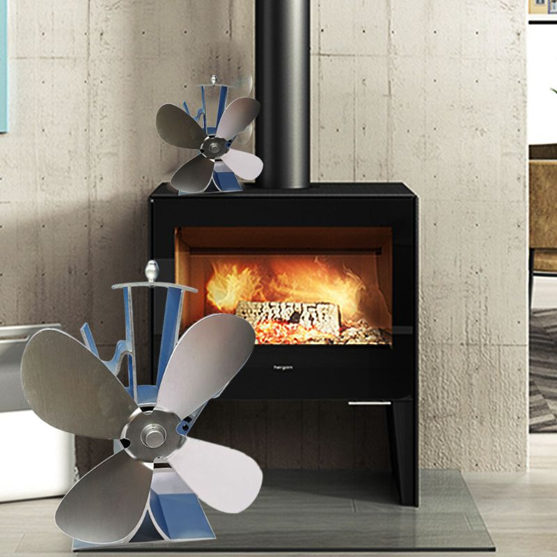 Eco-friendly Aluminum Silent Stove Fan Heat Powered Electrical Fan With 4 Blades 2019 New