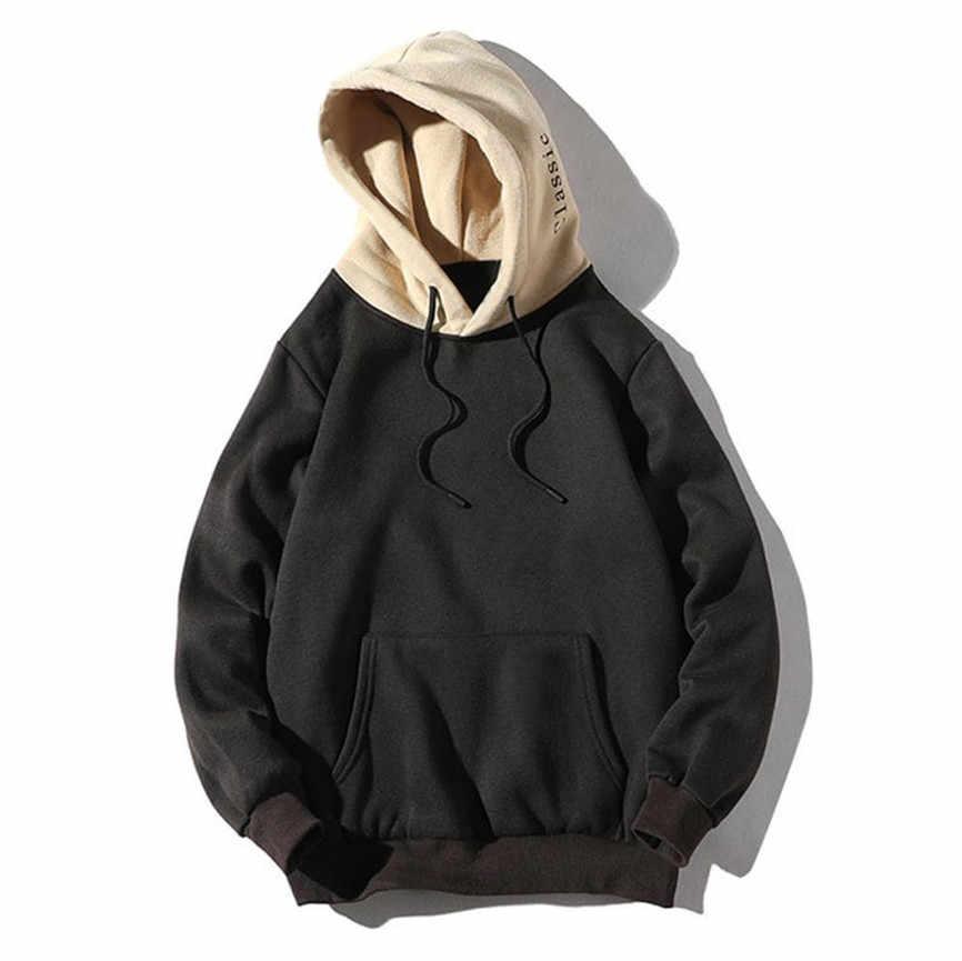 Sudadera con capucha Color sólido negro con cordón con bolsillos hombres sudadera Casual Patchwork con capucha Blusa con bolsillos