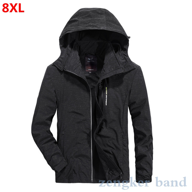 Spring Plus Size Men's Spring Outdoor Leisure Sports Soft Shell Clothing Black Oversize Soft Shell Clothing 8XL