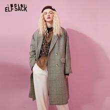 ELFSACK – manteau en laine à carreaux kaki pour femmes, manteau surdimensionné britannique en laine à simple boutonnage, vêtements chauds quotidiens pour dames, collection automne 2020