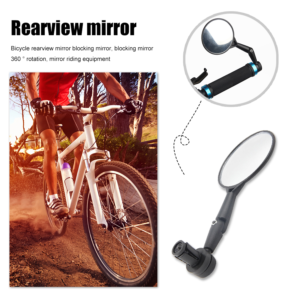 Bike MTB Bicycle Rearview Mirror Handlebar End 360° Rotate Rear Back View