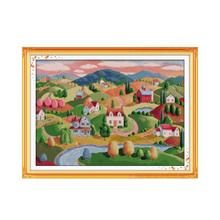 Oil-Painting Cross-Stitch-Kit Embroidery Diy Canvas Needlework Count-Print Handmade Aida 14ct