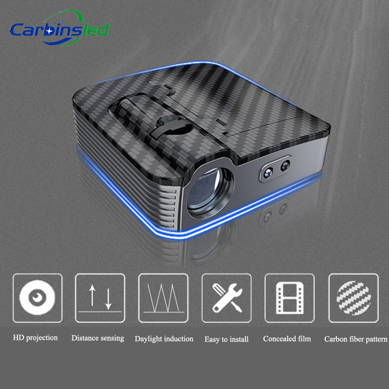 CARBINS 2pcs NEW Wireless Universal LED Car Door Welcome Logo Light Projector LED Lamp Carbon Fiber For Auto Car Styling