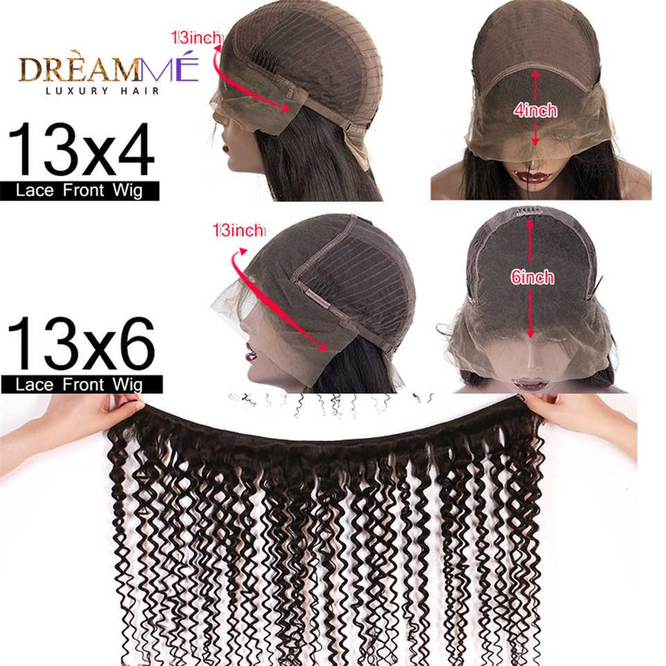 Peluca rizada Afro mongol corta Pre desplumada 13X6 De encaje Frontal pelucas de cabello humano para mujeres Peluca de encaje negro Remy 150% de densidad