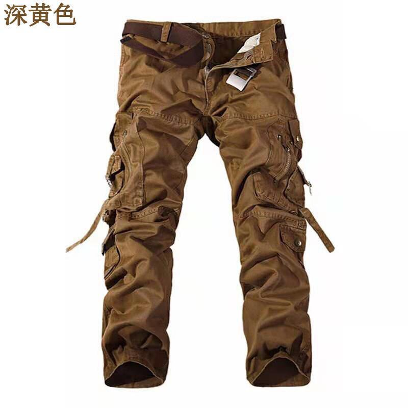 Men's 100%Cotton Cargo Pants Casual Pants Elastic Waist Multi Pocket Overall Outdoor Zipper Streetwear Army Military Trousers