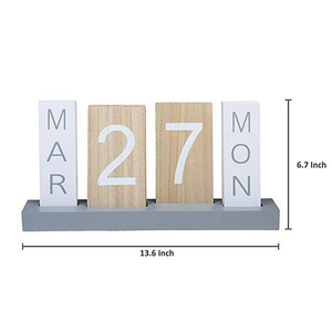 Image 2 - Wooden Calendar Desktop Display Perpetual Calendar Living Room Bedroom Home Decoration