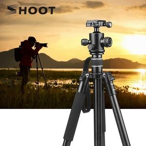 Image 1 - تبادل لاطلاق النار المهنية المحمولة السفر كاميرا ترايبود سبائك الألومنيوم 4 أقسام حامل ثلاثي القوائم لكانون نيكون SLR DSLR كاميرا رقمية