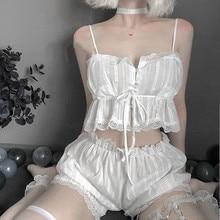 Bayan seksi beyaz şifon iç çamaşırı seti Lolita fırfır iç çamaşırı külot esaret kıyafeti caitsuit kostüm transparan elbise