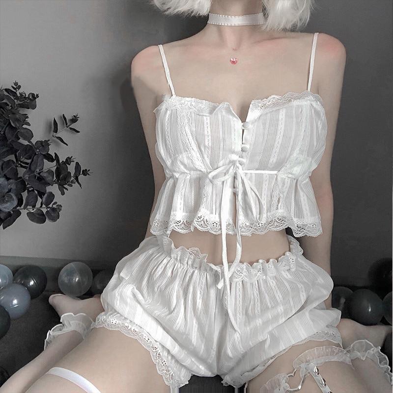 Womens Sexy White Chiffon Lingerie Set Lolita Ruffle Underwear Panties Bondage Nightwear Caitsuit Costume Transparent Dress