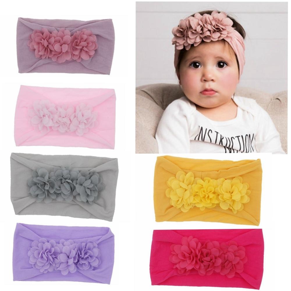 Brand Toddler Baby Girl Kid Baby Chiffon Flower Hairband Headband Stretch Turban Head Wrap Children Girls Hair Accessories