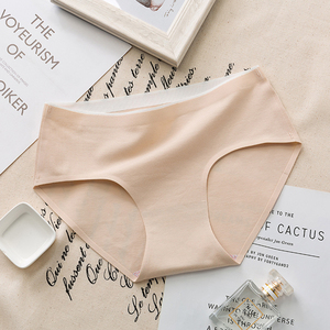 Image 4 - New mid waist womens solid color non mark antibacterial panties breathable cotton briefs ladies underwear hot sale