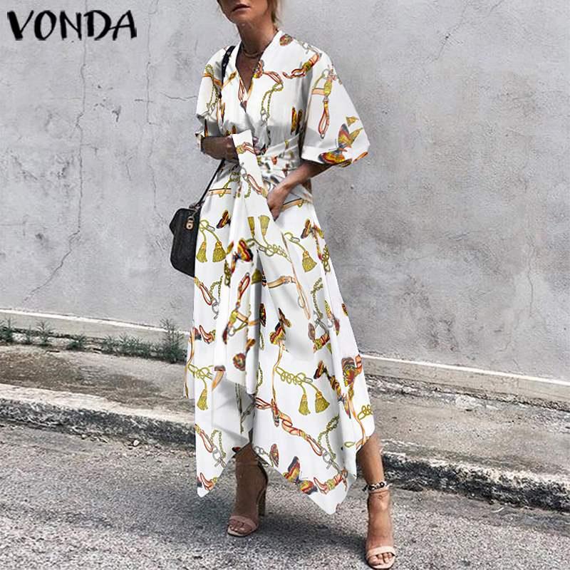 VONDA été rétro Robe 2021 Sexy col en V demi manches Vintage imprimé longs Vestidos grande taille bohème fête Robe Femme Robe dété