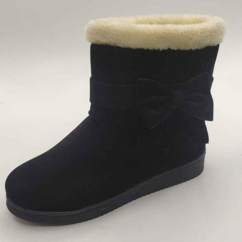 2019 Kadın Kar Botları Düz Kış Artı Boyutu Platformu Bayanlar sıcak ayakkabı Yeni Akın Kürk kadın Süet yarım çizmeler Kadın