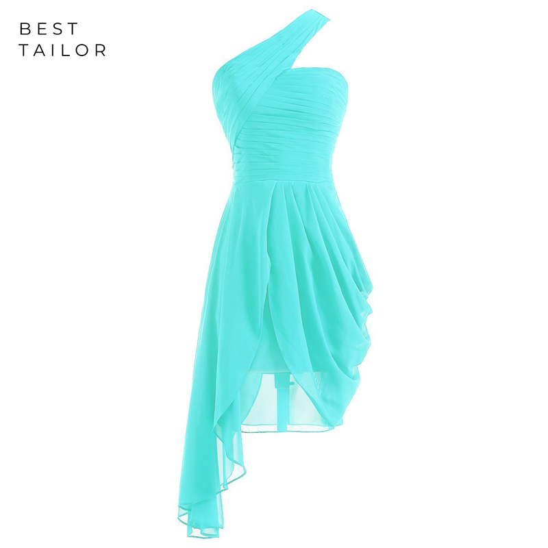 Simple Chiffon Short Bridesmaid Dresses Turquoise Maid Of Honor Gown One Shoulder Drap Vestido De Fiesta De Noche Robe De Soiree