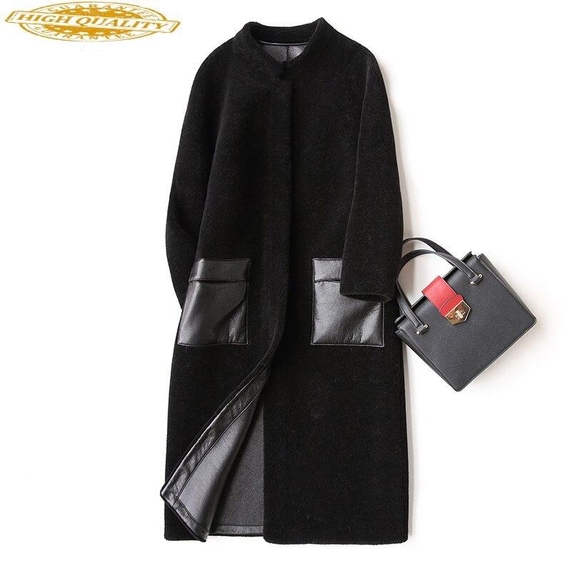 Natural Sheep Shearling Fur Coats 2020 Long Warm Women's Fur Coat Female Winter Jacket Women Real Wool Overcoat CYX732
