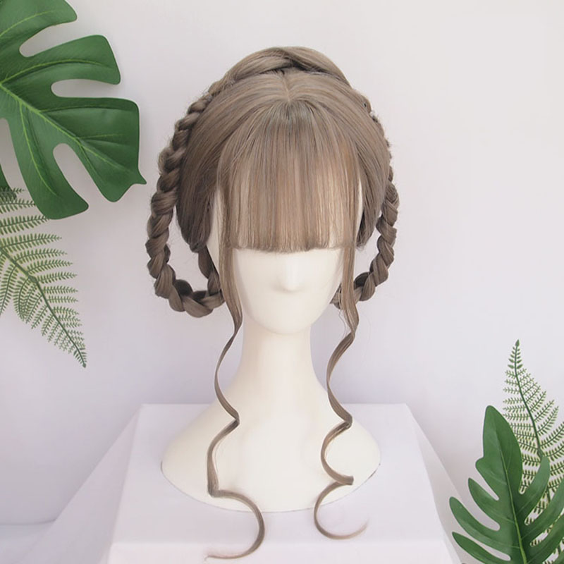 Vintage Wig Chinese Ancient Style Wig Long Straight Black Hair Air Bangs Modelling Wig Hair Ornament Hanfu Braids Of Hair