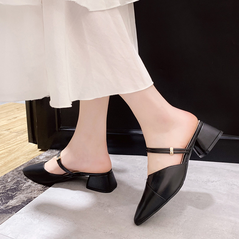 PU Leather High heels pumps women shoes 2019 Summer shoes women Fashion Pointed Square heel sandals women Slip-On Casual shoes 2