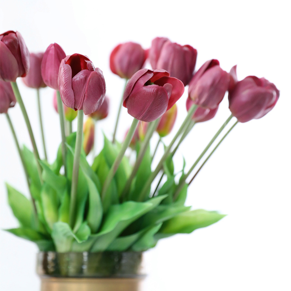 5Pcs bunch Artificial Tulips Flower For Home Wedding Decoration Bride Hand Flowers Real Touch Soft Silicone Tulip flores Decor 8