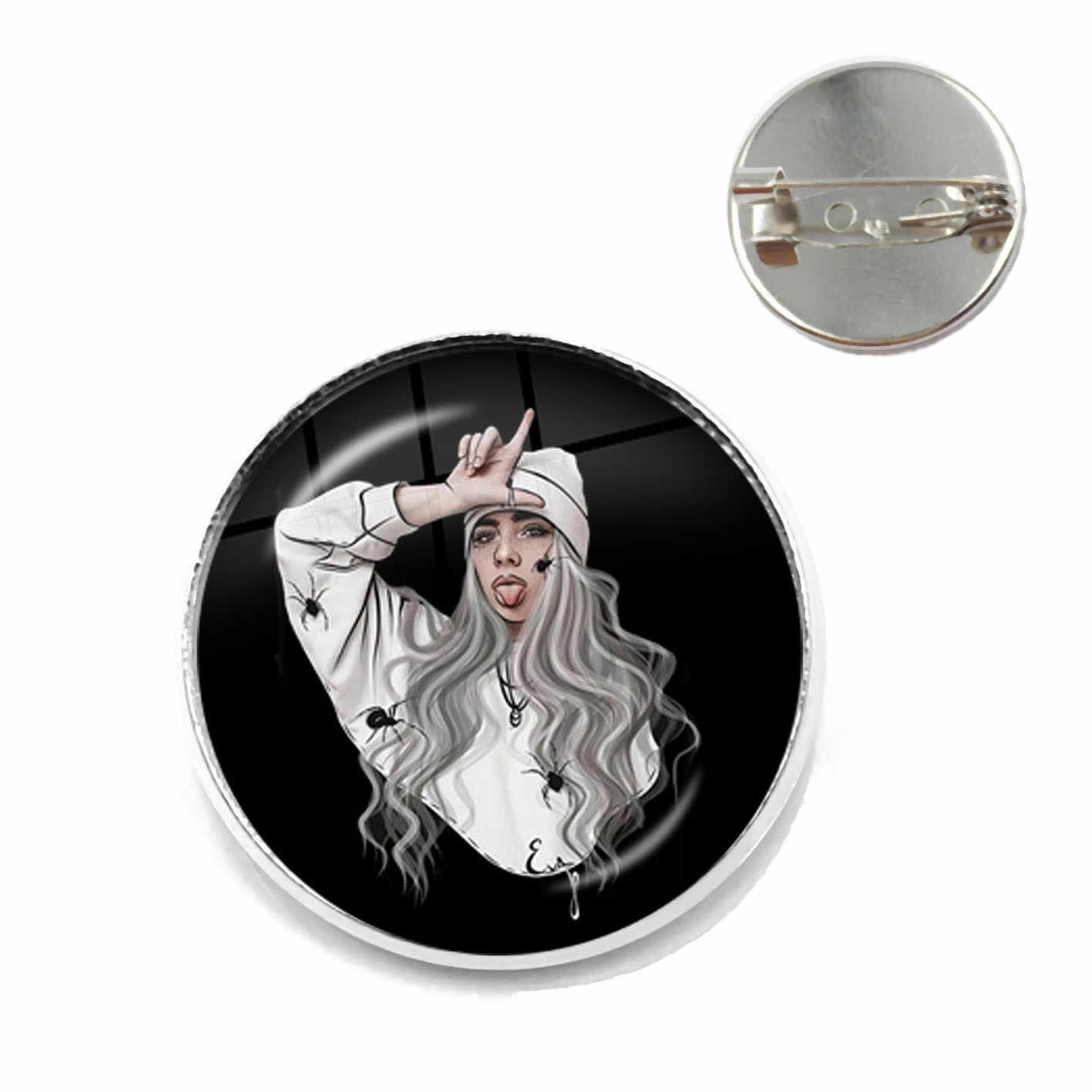 Populer Penyanyi Muda Billie Eilish Bros Gambar Seni Musik Hip-Hop 20 Mm Kaca Cabochon Kerah Pin Perhiasan untuk Para Penggemar Musik hadiah