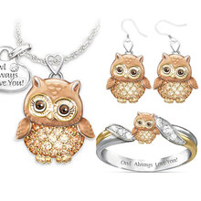 Fashion Ring/Earrings/Necklace Sets for Women Cute Animal Owl Statement Jewelry Set 2020 New Arrival Bridal Wedding Gift