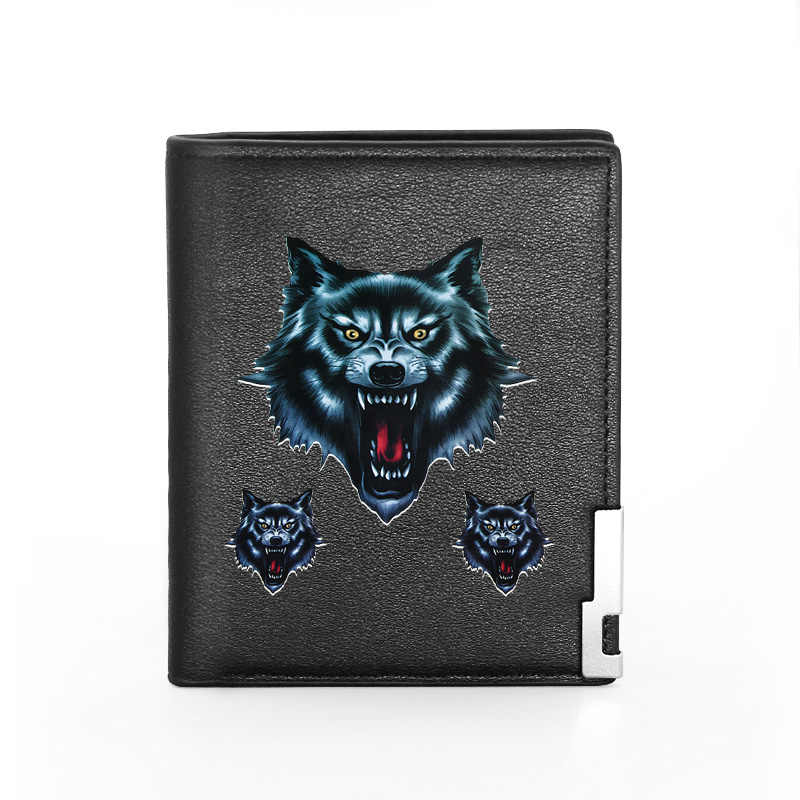 Wallet for Men-Genuine Black Leather RFID Blocking Bifold Pocket Wallets Wolf Embossed Leather Wallet