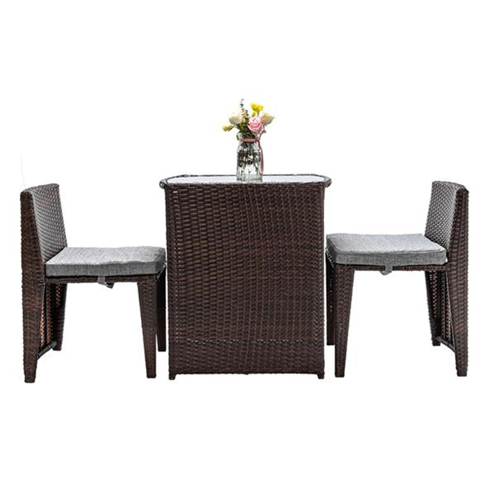 3PCS Rattan Wicker Bistro Set With Glass Top Table 2 Chairs Space Saving Design Brown Garden Furniture Set