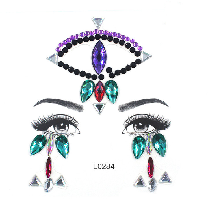 6  Acrylic Jewelry Stickers Colorful Rhinestone Face Stickers For Women Eyebrow Eye Masquerade Decor Resin DIY Drill Face Sticker