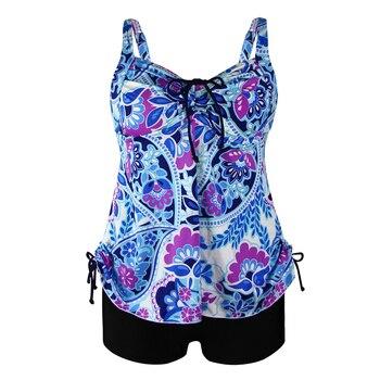 PERONA Sexy Tankini Set Women Plus Size Swimwear Two Piece Swimsuit Swirly Paisley Print Padded Bandage Bathing Suit Swimdress 9