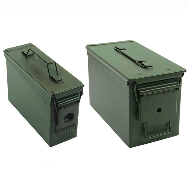 30+50 Cal/Set Metal Ammo Case Can Military Solid Steel Holder Box Waterproof Tactical Box for Long Term Bullet Valuables Storage