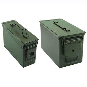 Image 1 - Caja de almacenamiento de munición de Metal, caja de soporte de acero sólido militar, resistente al agua, para almacenamiento de objetos de valor de bala a largo plazo, 30 + 50 Cal/Set