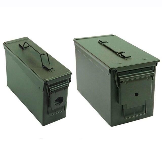 Caja de almacenamiento de munición de Metal, caja de soporte de acero sólido militar, resistente al agua, para almacenamiento de objetos de valor de bala a largo plazo, 30 + 50 Cal/Set